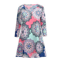 Maodapa Women Casual Three Quarter Printing Elastic Party Mini Dress