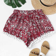 Women Summer Printed Loose Hot Pants Lady Summer Beach Shorts Trousers_M
