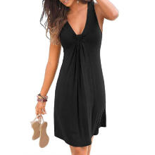 Women Summer Sleeveless Evening Party Beach Dress Short Dress_Black_M