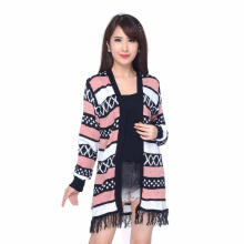 LONG CARDIGAN HINATA Okechuku Outer Rajut Motif Tribal Fashion Wanita Pink L