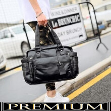 Duffle Bag|Tas Gym|Tas travel kulit PU -TAS TRAVAIL (Hitam) Black