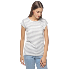 FACTORY OUTLET LO1709-0005 Women T-shirt SS 94G7 White Stripe Melange - White