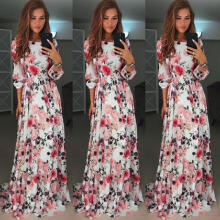 Maodapa Women Floral Print Bohemia Party Evening Prom Swing Floor-Length Long Dress