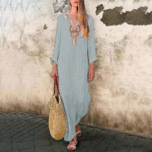 Women's Printed Long Sleeve V-neck Maxi Dress Split Hem Baggy Kaftan Long Dress_L