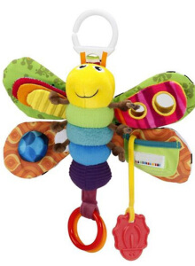Anamode Kid Plush Toys Stroller Bed Hanging Butterfly Bee Handbell Rattle - Multicolor