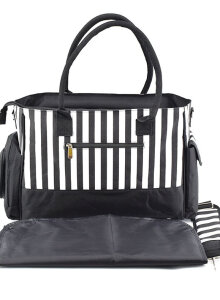 [OUTAD] Large Capacity Portable Mummy Bag Multifunctional Fashion Striped Shoulder Bag White Black