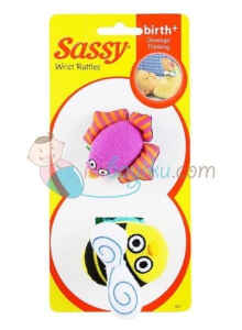Sassy Wrist Rattles Bee and Bird Size 2pcs Color Full Age 0M+