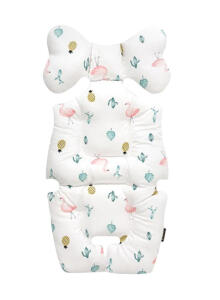 Borny Bny116 Tropical Flamingo Stroller Liner White