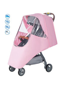 Nintyuda Universal Baby Carriage Stroller Waterproof Rain Cover Windshield Umbrella Raincoat Cover Pink