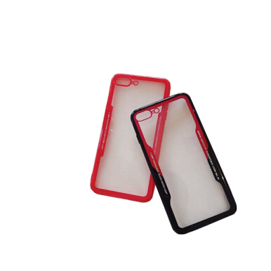 VEN For Apple iPhone 6 Plus/6S Plus Case Luxury Simulation Glass Acrylic + TPU Transparent Protective Black-Red