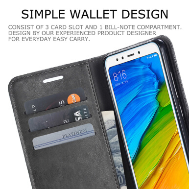 DELIVE Xiaomi Redmi 5 Plus Cas Cover  Luxury Faux Leather  Lite Fundas Card Slots Phone Cases Grey