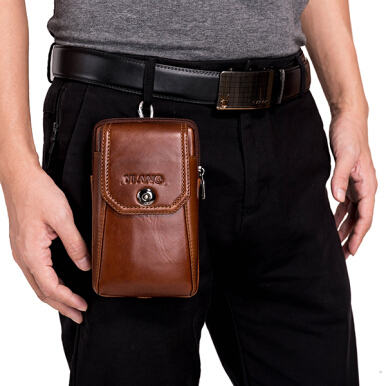 YIANG Men Genuine Leather Vintage Waist Bag Business Crossbody Bag Cell Phone Bag for 6 inch Phones Brown