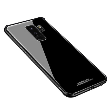 VEN For Samsung Galaxy C9 Pro  Case Tempered Glass Back+Soft Silicone Around Cover Luxury Soft Silicone Edge Hard Back Black