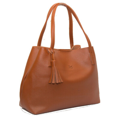 BEAUTY GUM Tote Bag Alice Bahan Kulit (High Quality) - Brown