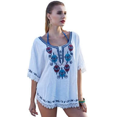 Fashionmall Fashion Sexy Comfortable Round Neck Loose Embroidery Lace Lace Large Size Head Smock White One Size