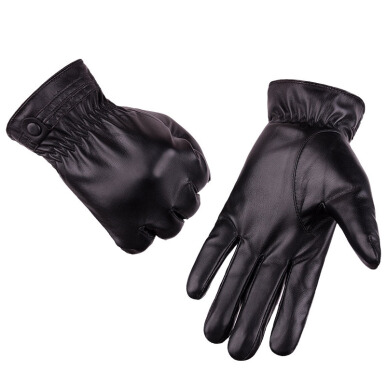 SiYing Men's PU touch screen gloves outdoor riding lovers gloves-Black