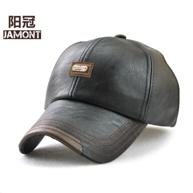 JAMONT Men's 2018 new trend leather European and American fashion Jane wild baseball cap-Black