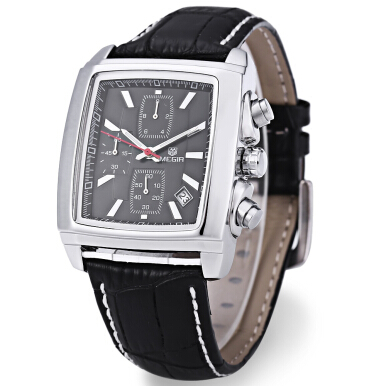 MEGIR M2028 Male Quartz Watch Rectangle Dial with Date Function Leather Strap Sport Wristwatch
