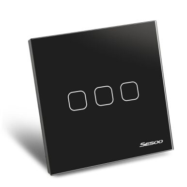 SESOO Smart Touch Light Switch 3 Gang 1-way Intelligent Controller Crystal Panel with Remote Control