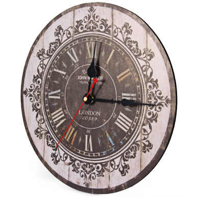 Silent Retro Wooden Decorative Round Wall Clock