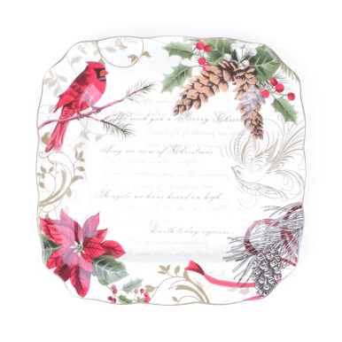 222 FIFTH - Square Dinner Plate - Set of 4 - Holiday Wishes