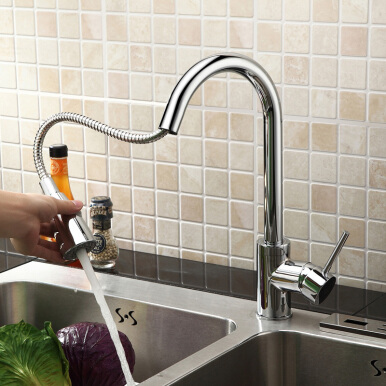 LANGFAN J6513 Pull Out Kitchen Sink Water Hot & Cold Water Tap Faucet