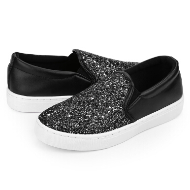 Causal Ladies Oversize Bling Glitter Flats Lazy Shoes