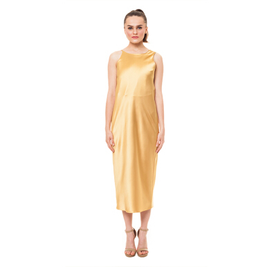 MAZUKI Cowl Back Bias Dress - Gold [S] - Wida Dress [WD23]
