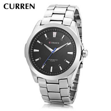CURREN 8109 Male Quartz Watch Stainless Steel Band Luminous Pointer 30m Water Resistance Wristwatch