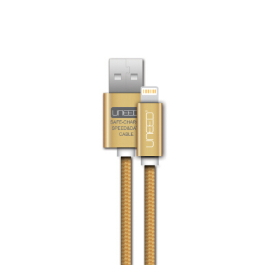 UNEED Nylon Cable Data Lightning USB Latest iOS Compatible UCB01i - Gold