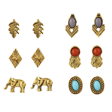 6 Pair of Old Classical Leaf Elephant Geometric Earring Studs