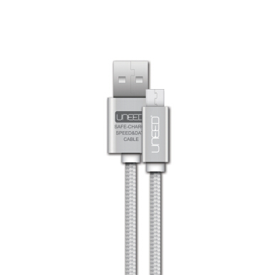 UNEED Nylon Kabel Data Micro USB Metal Quick Charge UCBM1 Fast Charging 2.1A - Silver