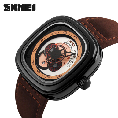 SKMEI 9129 Men Quartz Watch Nubuck Leather Band Gear Second Hand