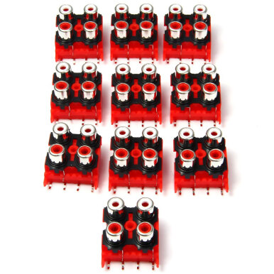 DIY 4 Ports RCA Female Sockets - 10PCS / DC 50V 0.3A