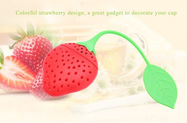 Colorful Novelty Silicone Strawberry Shape Mesh Tea Infuser Reusable Strainer Filter