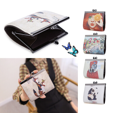 Panda Graffiti Oil Painting Metal Frame Purse Coin Case for Lady