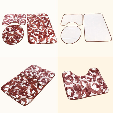 3pcs Soft Flower Anti-skid Bathroom Floor Mats Flannel Memory Foam Cover