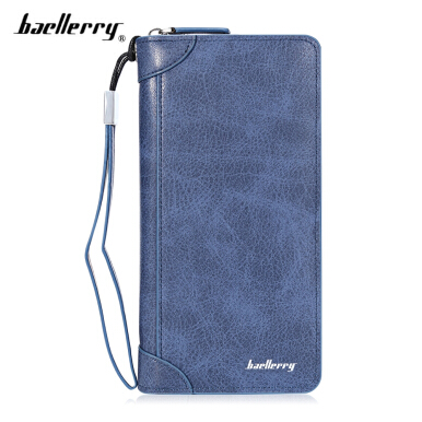 Baellerry Solid PU Leather Zipper Male Wallet with Handle Strap