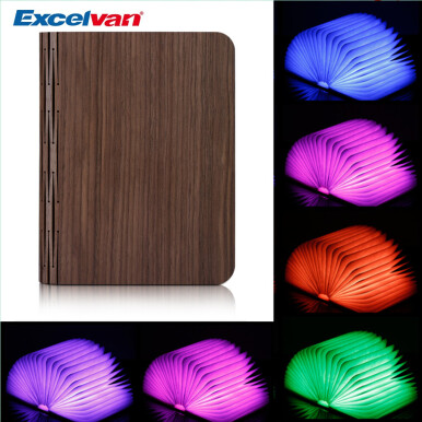 Excelvan Wooden Foldable LED Nightlight Booklight & LED Folding Book Lamp, Electromagnetic Induction Technology, 2500mAh Lithium Batteries Up To 8 Hours Usage,Magnetic,USB Rechargeable,Auto Changing R