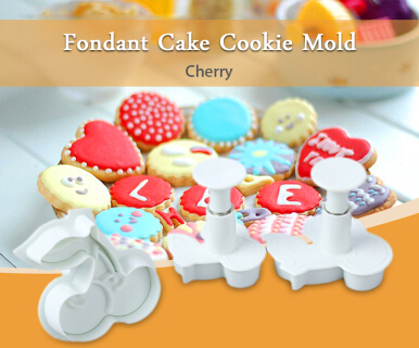 3pcs Cherry Fondant Cake Punch Mold Plunger Cutter