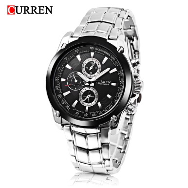 Curren 8025 Male Quartz Watch Decorative Sub-dial Stainless Steel Strap Luminous Wristwatch
