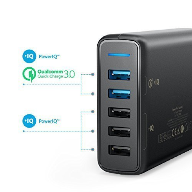 ANKER PowerPort 5 With DualQuick Charger 3.0 - Black [A2054L11]