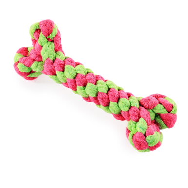 Cotton Rope Braided Bone Knot Pet Dog Chew Toy Random Color
