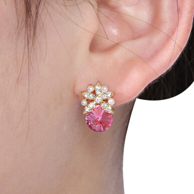 Fruit Pattern Artificial Ruby Pearl Ladies Earrings