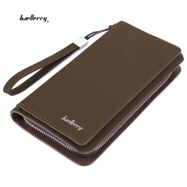 Baellerry Solid Color Letter Zipper Vertical Long Portable Clutch Wallet VERTICAL