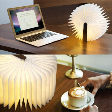 Excelvan Wooden Foldable LED Nightlight Booklight & LED Folding Book Lamp