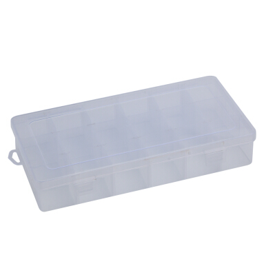 Detachable 18 Compartments Transparent Plastic Jewelry Bead Storage Box