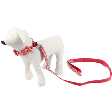 2pcs Christmas Pattern Pet Leading Leash Dog Collar with Tinkling Bell