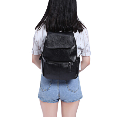 Guapabien Preppy Style Flap PU Leather Backpack for Women