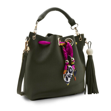 NEW COLLECTION Bucket bag adorned with scarf - Green